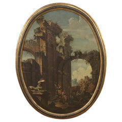 18th Century Oil on Canvas Antique Italian Oval Painting Landscape with Ruins