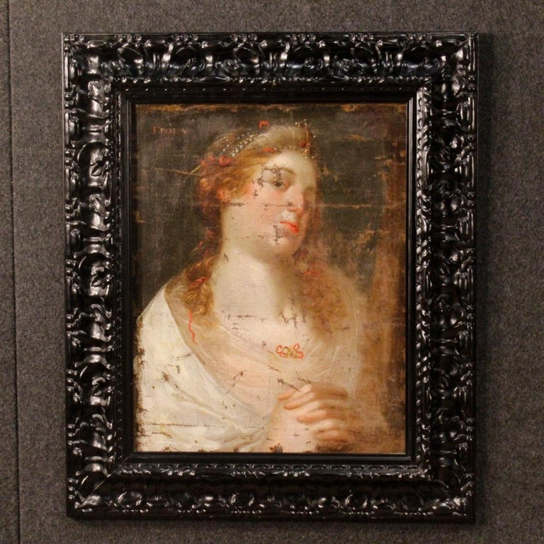 18th Century Oil on Canvas Antique Italian Painting Female Character, 1780 For Sale 6
