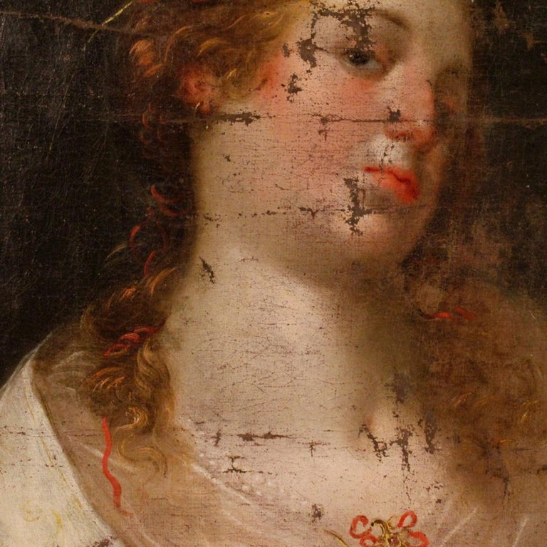 Antique Italian painting from 18th century. Framework oil on canvas depicting a female figure of excellent pictorial quality. Framework for antique dealers and collectors which underwent a conservative restoration during 20th century. Guillauche