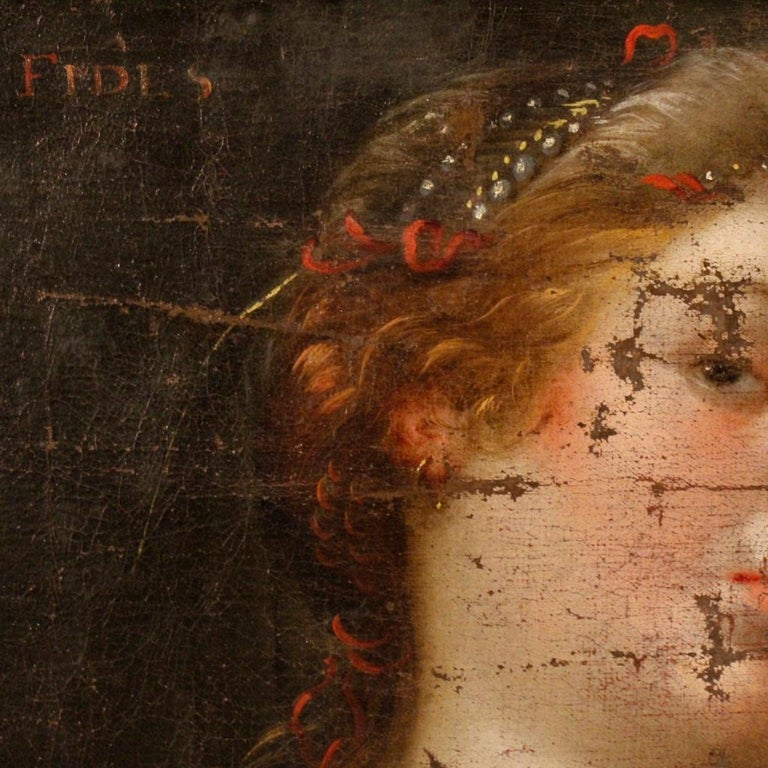 18th Century Oil on Canvas Antique Italian Painting Female Character, 1780 For Sale 1