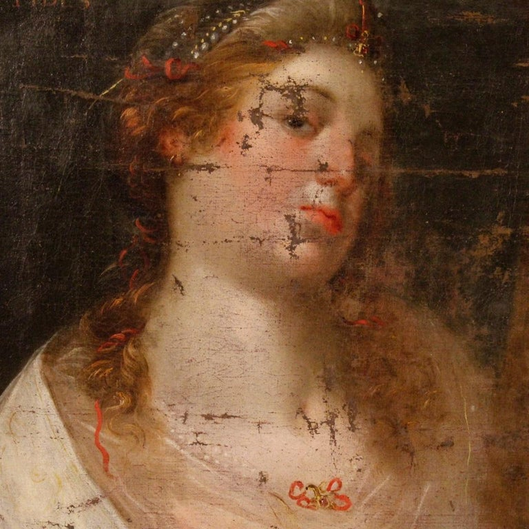 18th Century Oil on Canvas Antique Italian Painting Female Character, 1780 For Sale 2