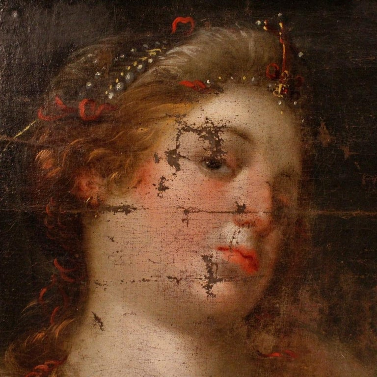 18th Century Oil on Canvas Antique Italian Painting Female Character, 1780 For Sale 3