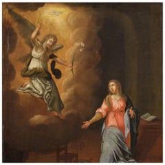 18th Century Oil on Canvas Antique Italian Religious Painting Annunciation, 1750