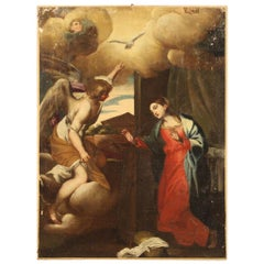 18th Century Oil on Canvas Antique Italian Religious Painting Annunciation, 1770