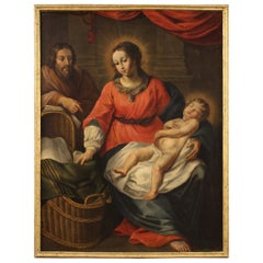 18th Century Oil on Canvas Antique Italian Religious Painting Holy Family, 1730