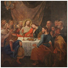 18th Century Oil on Canvas Antique Italian Religious Painting Last Supper, 1780