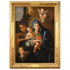 18th Century Oil on Canvas Antique Religious Italian Painting Holy Family, 1780