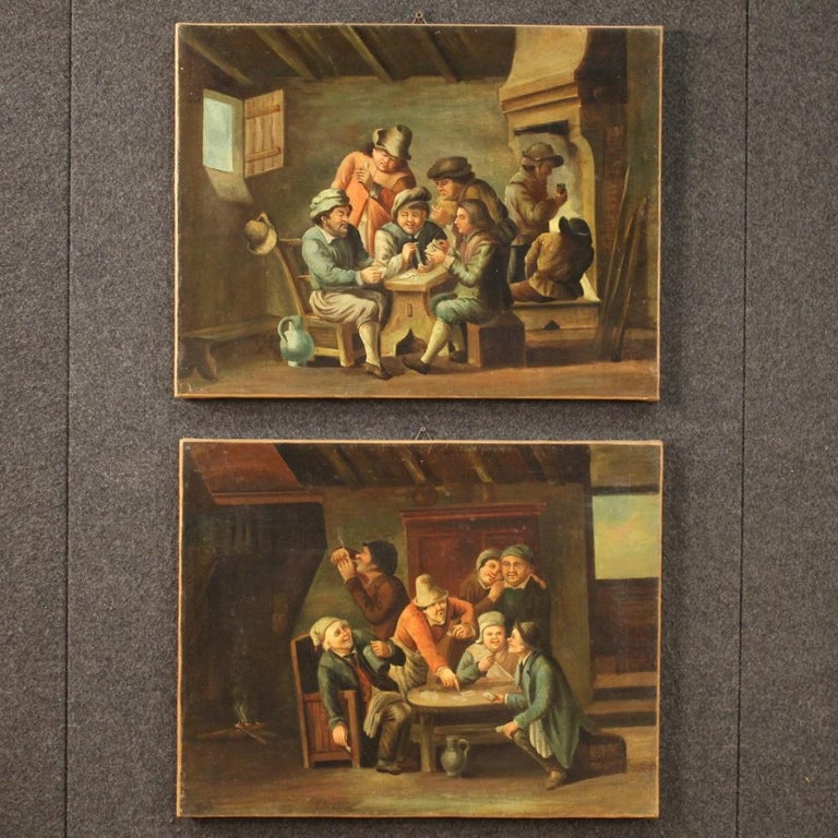 18th Century Oil on Canvas Flemish Antique Card Players Painting, 1780 5