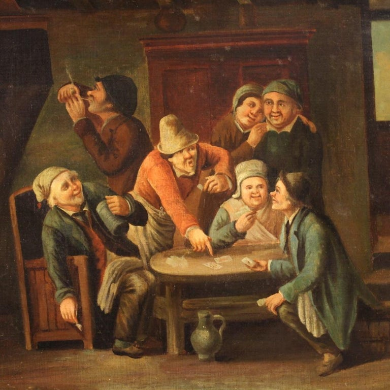 Belgian 18th Century Oil on Canvas Flemish Antique Card Players Painting, 1780