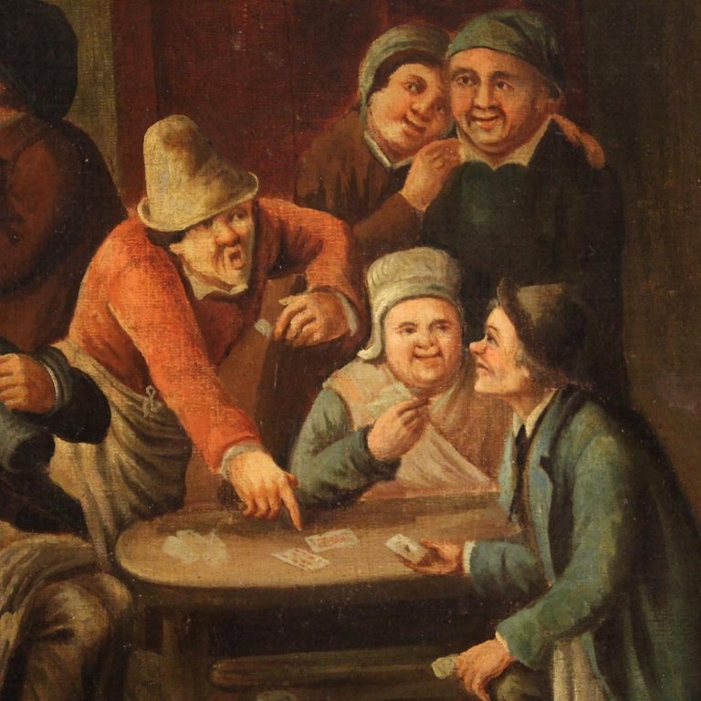 Oiled 18th Century Oil on Canvas Flemish Antique Card Players Painting, 1780
