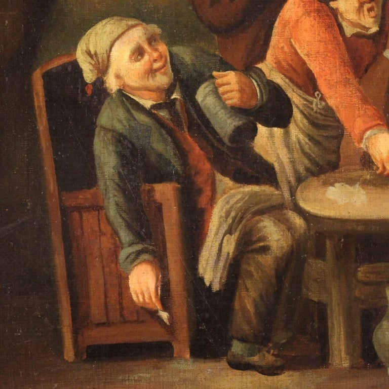 18th Century Oil on Canvas Flemish Antique Card Players Painting, 1780 In Good Condition In Vicoforte, Piedmont