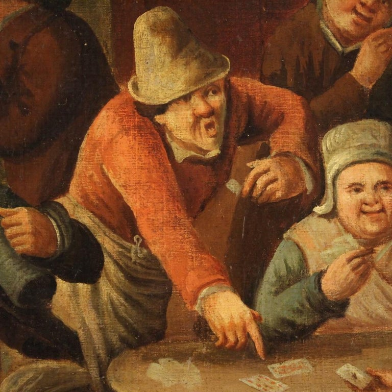 18th Century Oil on Canvas Flemish Antique Card Players Painting, 1780 1