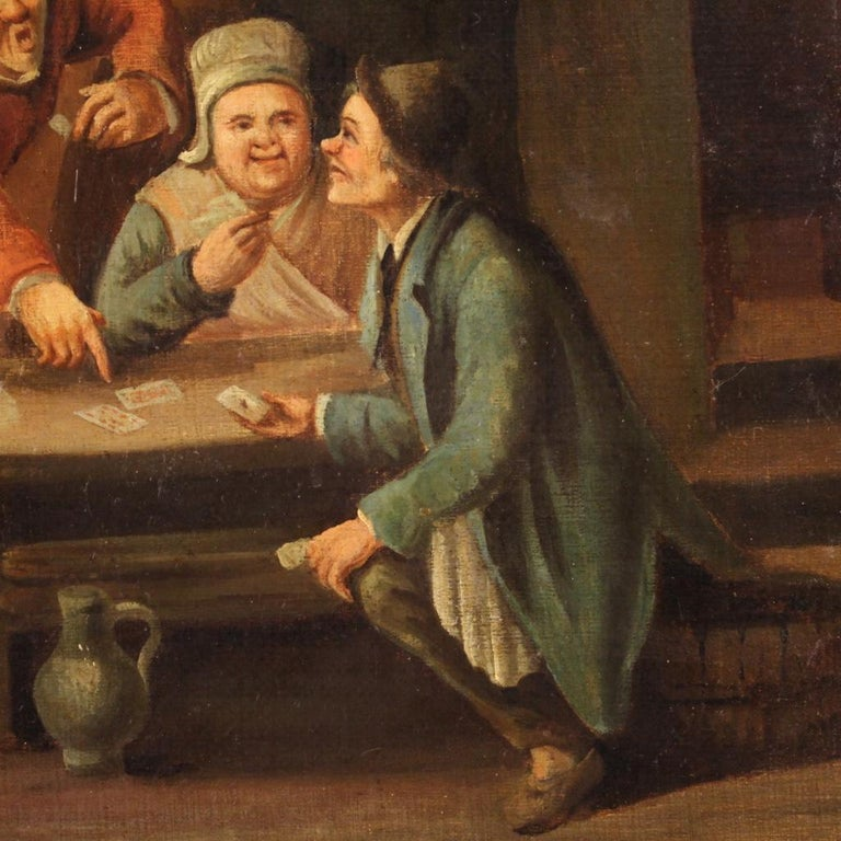 18th Century Oil on Canvas Flemish Antique Card Players Painting, 1780 2