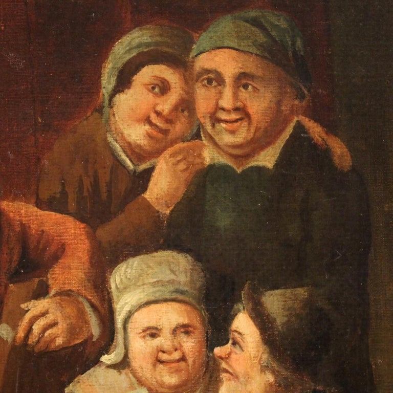 18th Century Oil on Canvas Flemish Antique Card Players Painting, 1780 3