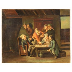 18th Century Oil on Canvas Flemish Antique Card Players Painting, 1780