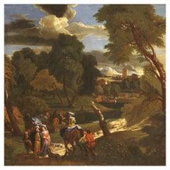 18th Century Oil on Canvas Flemish Antique Landscape Painting, 1750