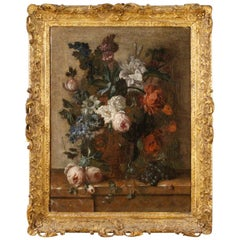 18th Century Oil on Canvas Flemish Still Life Vase with Flowers Painting, 1750