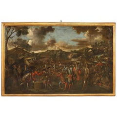 18th Century Oil on Canvas French Battle Painting, 1780
