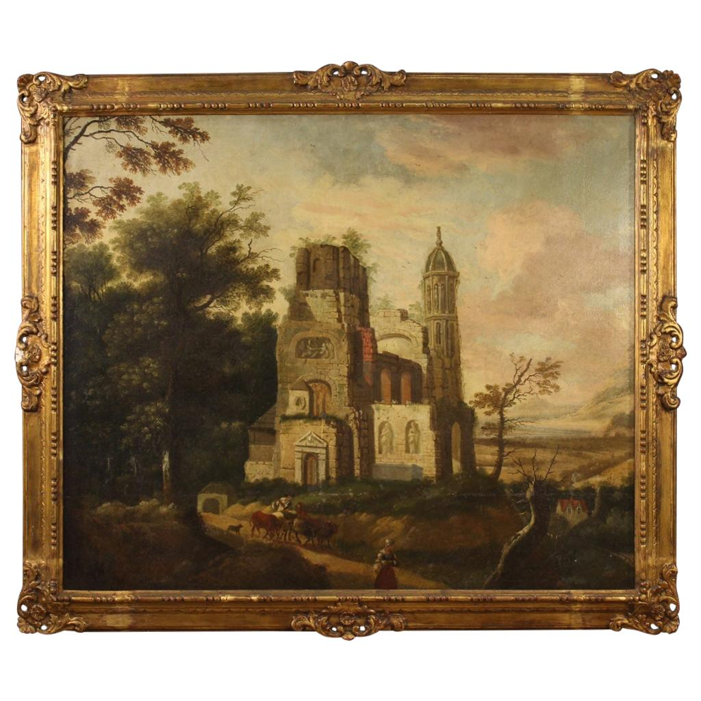18th Century Oil on Canvas French Landscape Painting, 1770