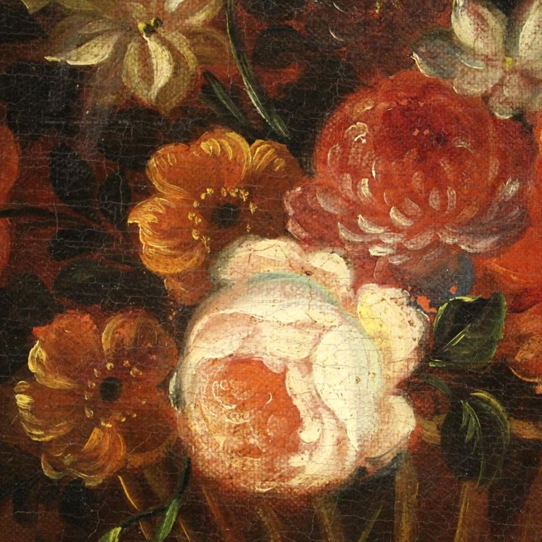 18th Century Oil on Canvas French Painting Still Life Basket with Flowers, 1780 For Sale 6