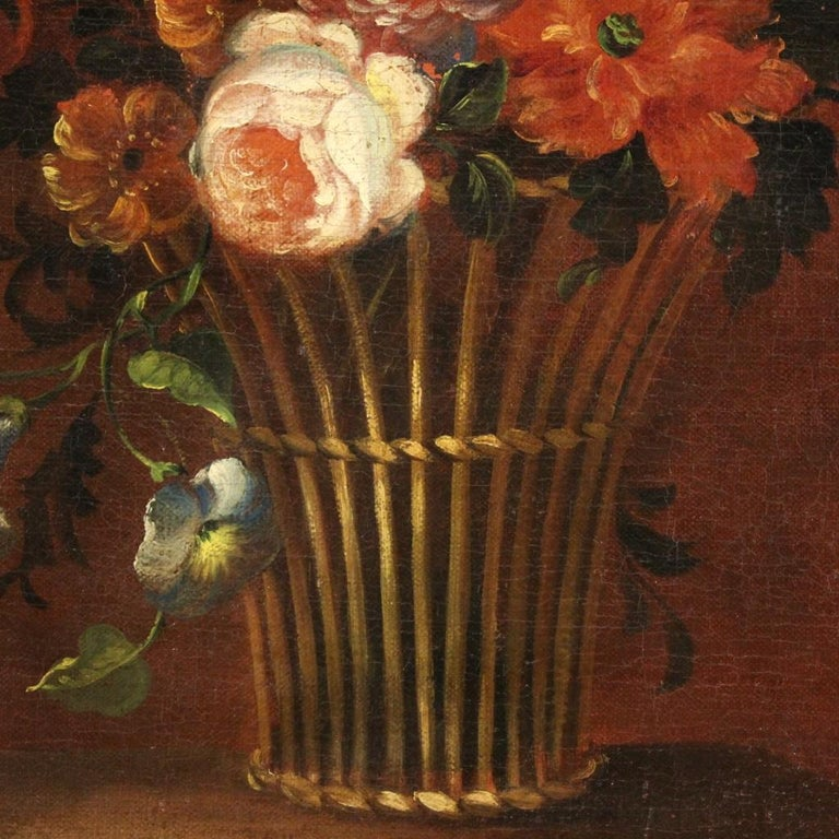 18th Century Oil on Canvas French Painting Still Life Basket with Flowers, 1780 For Sale 7