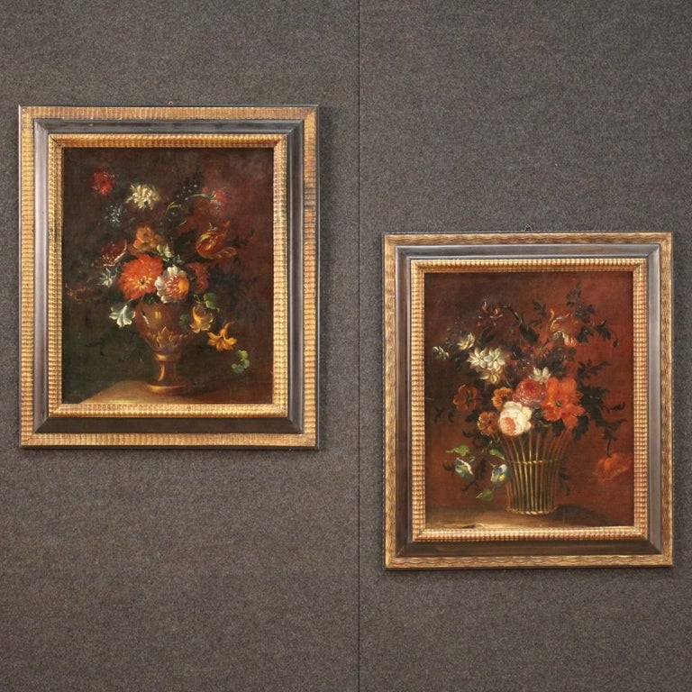 18th Century Oil on Canvas French Painting Still Life Basket with Flowers, 1780 For Sale 8