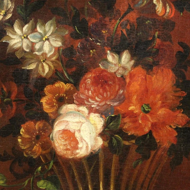 18th Century Oil on Canvas French Painting Still Life Basket with Flowers, 1780 For Sale 2