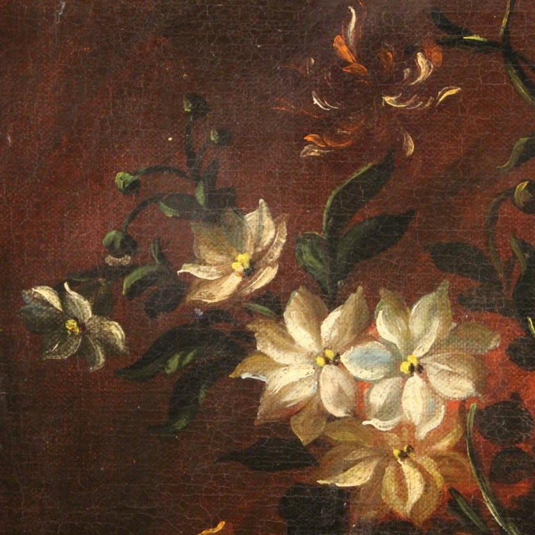 18th Century Oil on Canvas French Painting Still Life Basket with Flowers, 1780 For Sale 4
