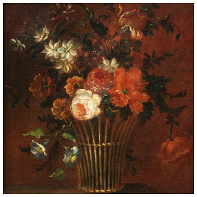 18th Century Oil on Canvas French Painting Still Life Basket with Flowers, 1780 For Sale