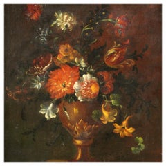 18th Century Oil on Canvas French Painting Still Life Vase with Flowers, 1750