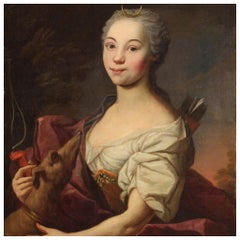 18th Century Oil on Canvas French Portrait of Goddess Diana Painting, 1780