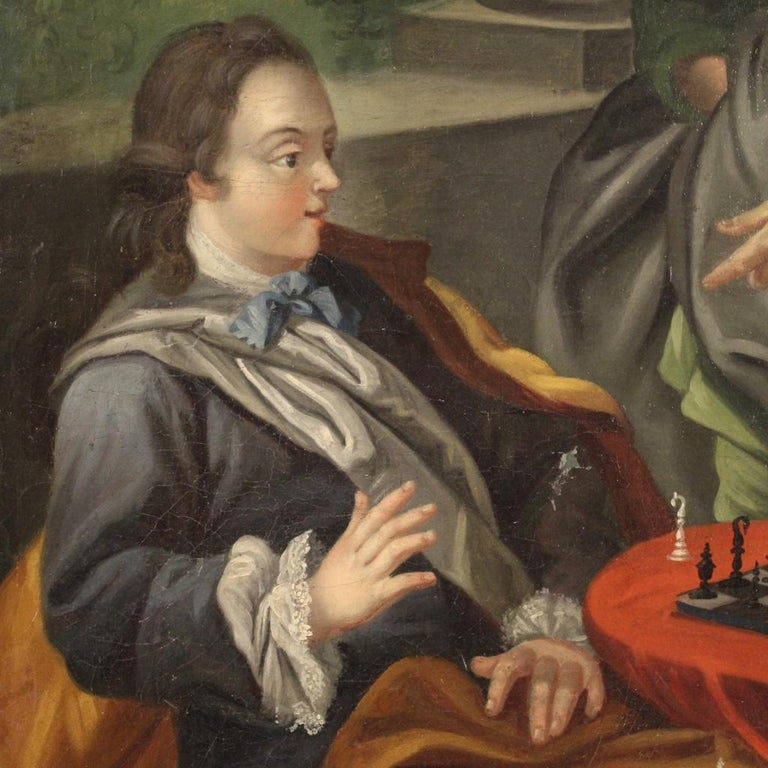 18th Century Oil on Canvas French Romantic Painting The Game of Chess, 1780 For Sale 6