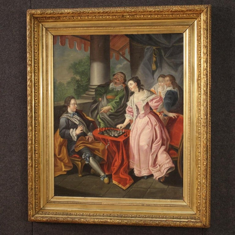 18th Century Oil on Canvas French Romantic Painting The Game of Chess, 1780 For Sale 7