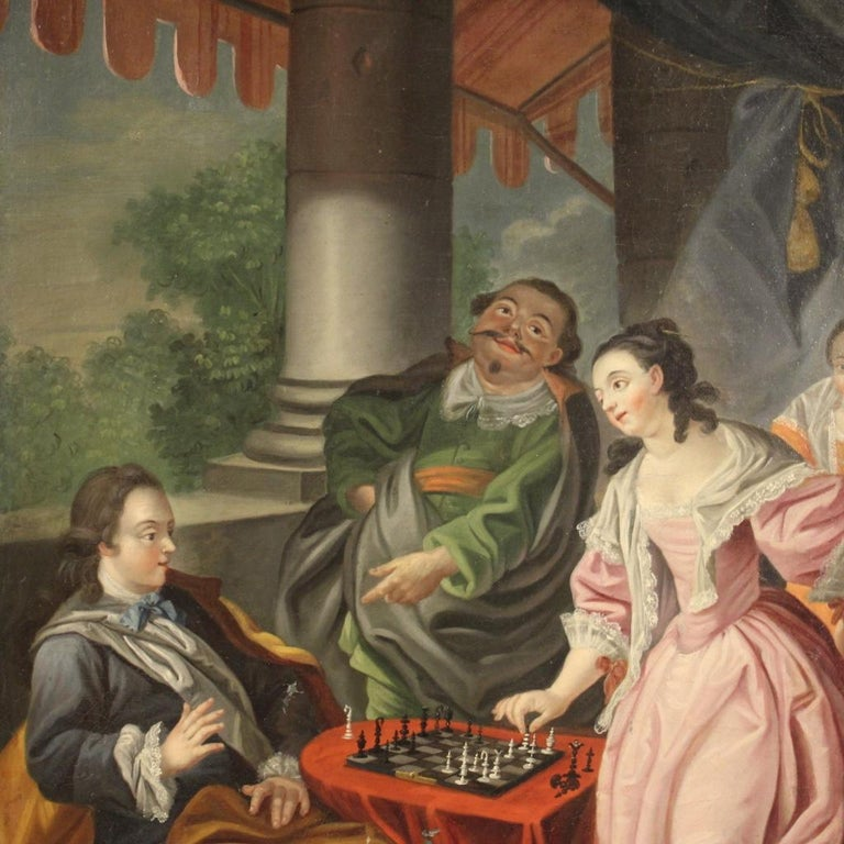18th Century Oil on Canvas French Romantic Painting The Game of Chess, 1780 For Sale 8
