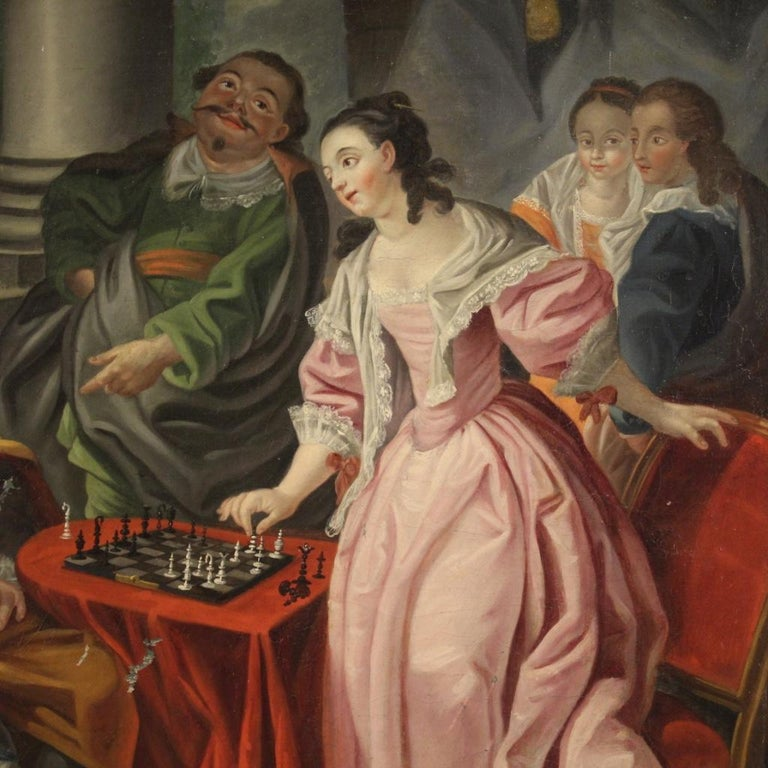 18th Century Oil on Canvas French Romantic Painting The Game of Chess, 1780 For Sale 1