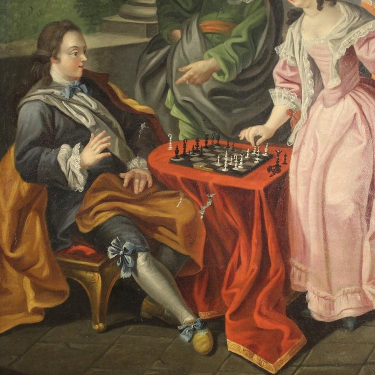 18th Century Oil on Canvas French Romantic Painting The Game of Chess, 1780 For Sale 2