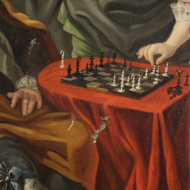 18th Century Oil on Canvas French Romantic Painting The Game of Chess, 1780 For Sale 3