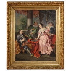 18th Century Oil on Canvas French Romantic Painting The Game of Chess, 1780