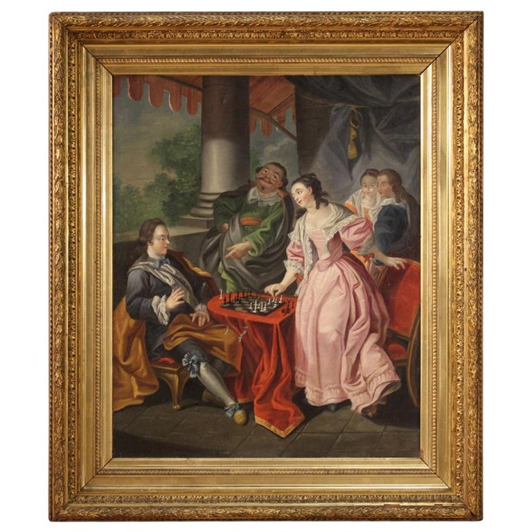 18th Century Oil on Canvas French Romantic Painting The Game of Chess, 1780 For Sale