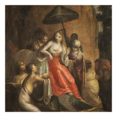 18th Century Oil on Canvas Italian Antique Biblical Painting, 1720