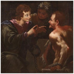 18th Century Oil on Canvas Italian Antique Biblical Painting