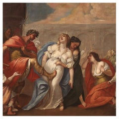 18th Century Oil on Canvas Italian Antique Biblical Painting, 1780