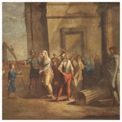 18th Century Oil on Canvas Italian Antique Biblical Scene Painting, 1770