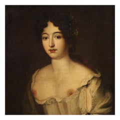 18th Century Oil on Canvas Italian Antique Girl Portrait Painting, 1770