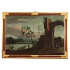 18th Century Oil on Canvas Italian Antique Landscape Painting, 1750
