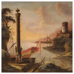 18th Century Oil on Canvas Italian Antique Landscape Painting, 1780