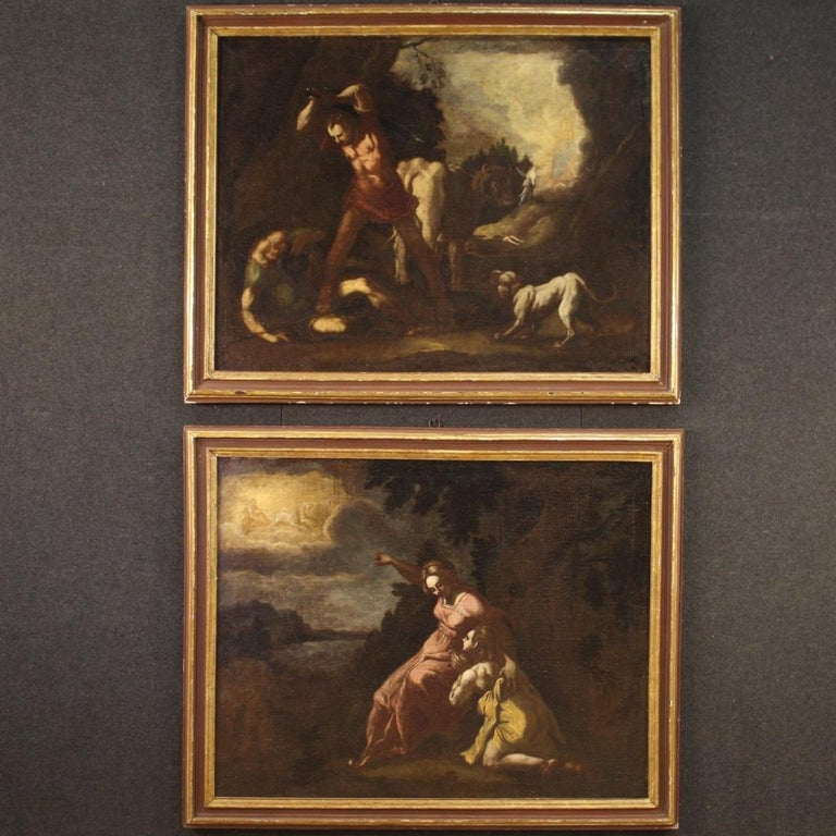 Antique Italian painting from 18th century. Framework oil on canvas depicting mythological subject (under study) of excellent pictorial quality. Framework for antique dealers and collectors of high age painting, 19th century frame in carved, gilded