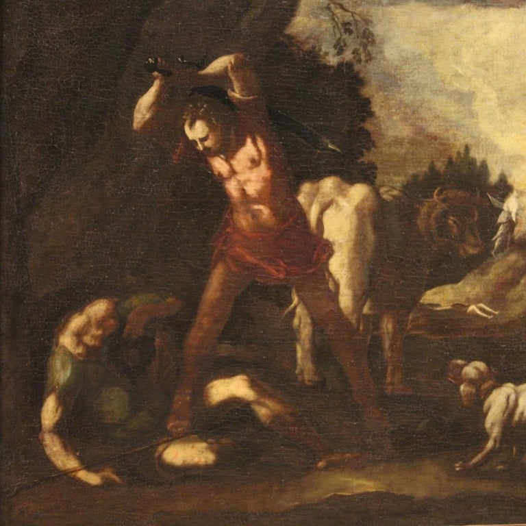 18th Century Oil on Canvas Italian Antique Mythological Painting, 1770 In Good Condition For Sale In Vicoforte, Piedmont