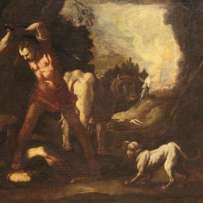 18th Century Oil on Canvas Italian Antique Mythological Painting, 1770 For Sale 1