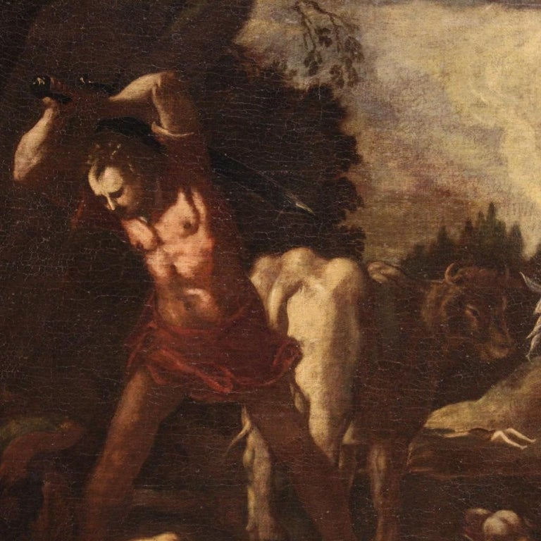 18th Century Oil on Canvas Italian Antique Mythological Painting, 1770 For Sale 3